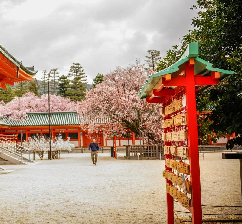 Hanging lucky things at Heian Shrine royalty free stock photos