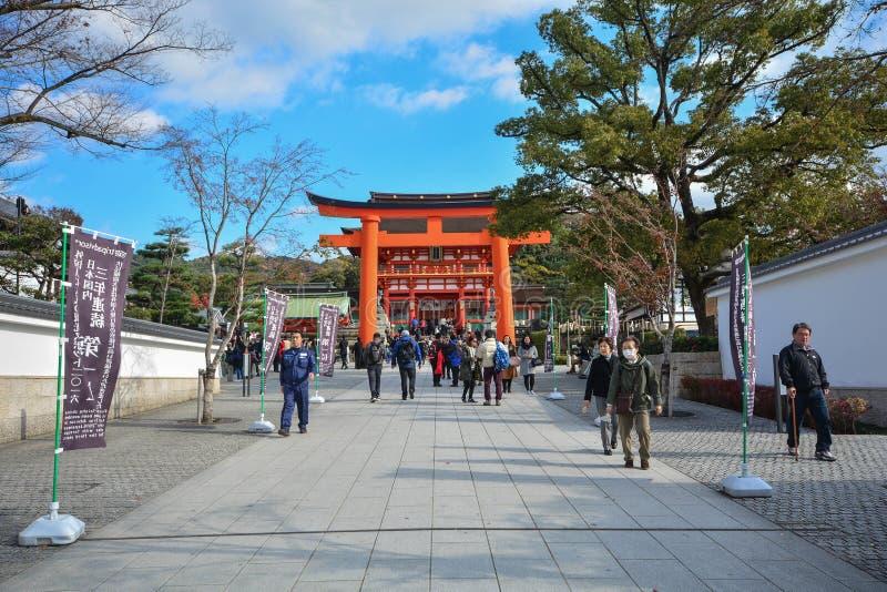 Kyoto, Japan : December 7,2016 : Fushimi Inari Shrine. Kyoto, Japan : December 7,2016 : Tourist visit famous shrine during autumn season at Fushimi Inari royalty free stock images