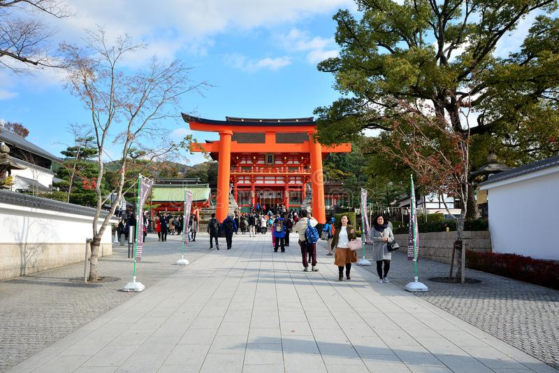 KYOTO, JAPAN : December 7, 2016 - Fushimi Inari Taisha Shrine. In Kyoto, Japan royalty free stock images
