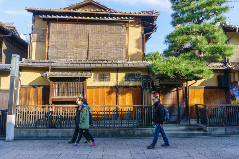 Kyoto, Japan - December 2, 2015: Gion area in Kyoto Japan.  royalty free stock image