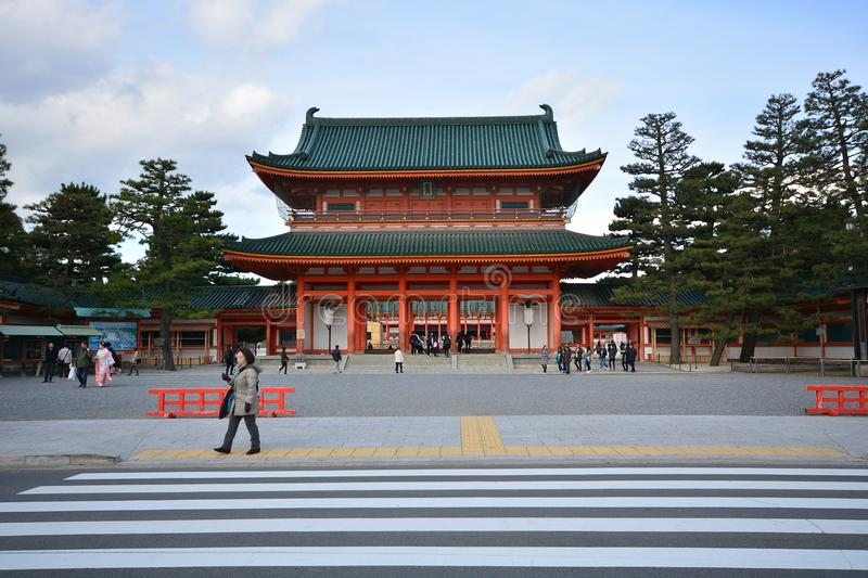 KYOTO, JAPAN - DECEMBER 8, 2016 : Heian Shrine. Famous shrine in Kyoto, Japan. It`s unique with a biggest gate in Japan royalty free stock image