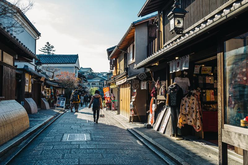 Japanese old traditional wooden house and street in Kyoto, Japan stock photography