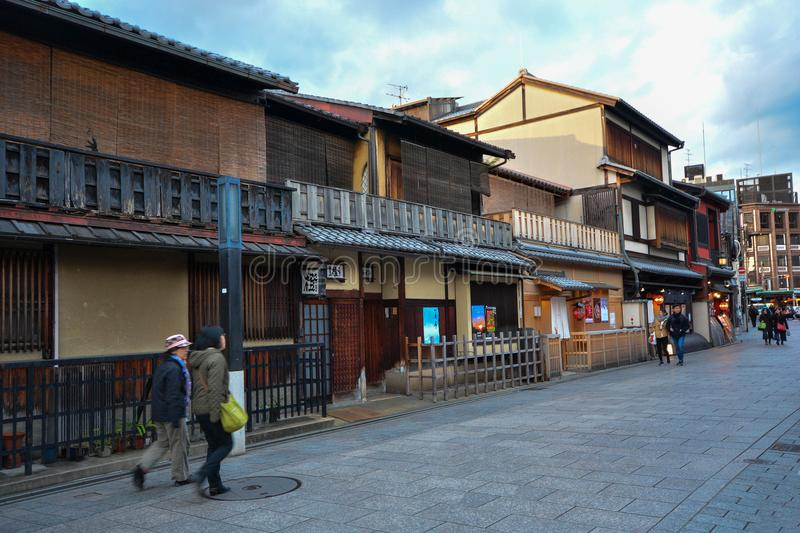 KYOTO,JAPAN : December 8, 2016:hanamikoji street. KYOTO,JAPAN : December 8, 2016: People walking in hanamikoji streets of the Gion district in Kyoto royalty free stock image