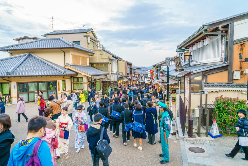 Kyoto, JAPAN-December 2: Tourists walk on a street. Around Kiyomizu Temple. Kyoto Japan on December 2,2015 Kiyomizu-dera was founded in the early Heian period royalty free stock images