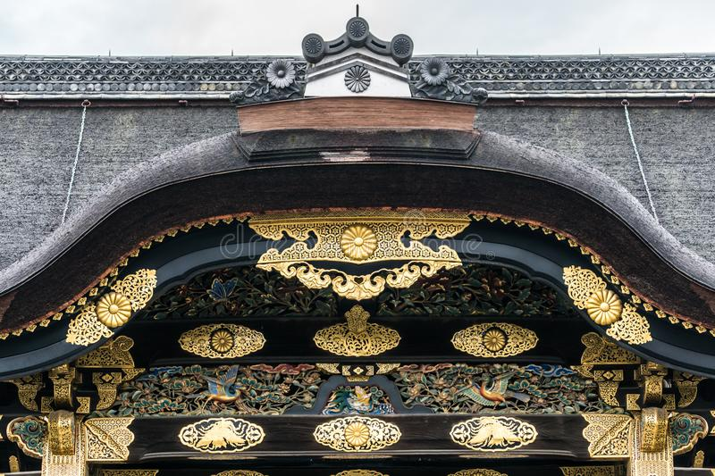 Arched Entrance Gold Carve Gable of Nijo castle royalty free stock photo