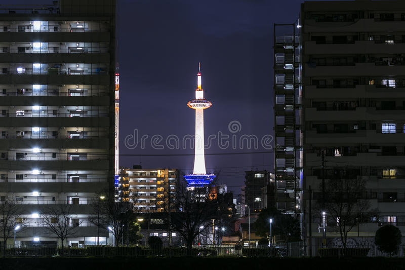 KYOTO, JAPAN - 10 FEBRUARY 2015 - The Kyoto tower, in the Kansai royalty free stock photography