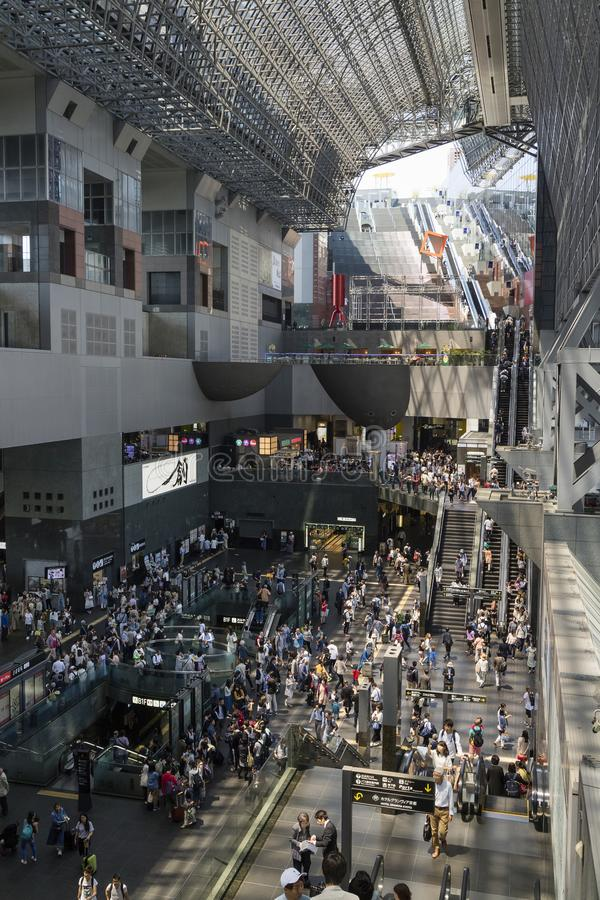 Kyoto, Japan - Interior of the crowded train station in Kyoto royalty free stock photos
