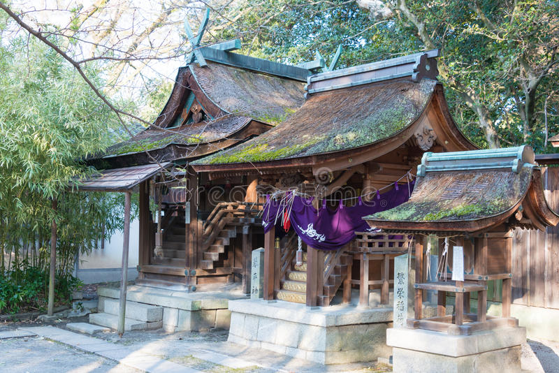 KYOTO, JAPAN - Jan 11 2015: Munakata Shrine of Kyoto Gyoen Garden. a famous historical site in the Ancient city of Kyoto, Japan.. KYOTO, JAPAN - Jan 11 2015 royalty free stock photos