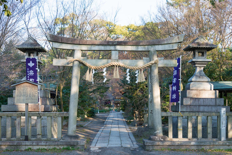 KYOTO, JAPAN - Jan 11 2015: Munakata Shrine of Kyoto Gyoen Garden. a famous historical site in the Ancient city of Kyoto, Japan.. KYOTO, JAPAN - Jan 11 2015 stock photo