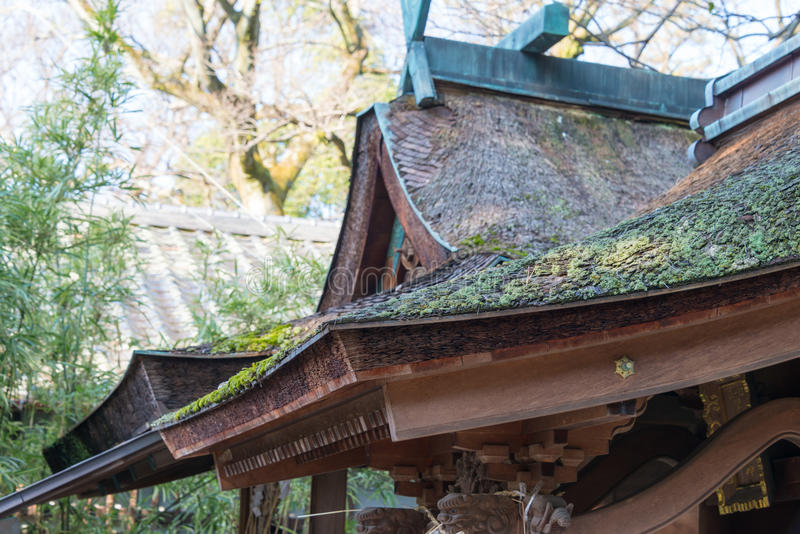 KYOTO, JAPAN - Jan 11 2015: Munakata Shrine of Kyoto Gyoen Garden. a famous historical site in the Ancient city of Kyoto, Japan.. KYOTO, JAPAN - Jan 11 2015 royalty free stock images