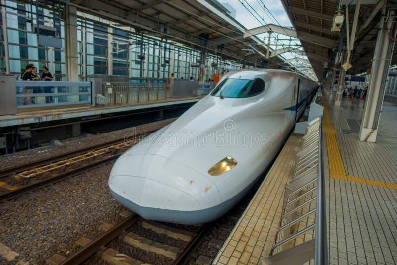 KYOTO, JAPAN - JULI 05, 2017: JR700 shinkansen ultrasnelle trein het vertrekken Kyoto post in Kyoto, Japan royalty-vrije stock afbeelding