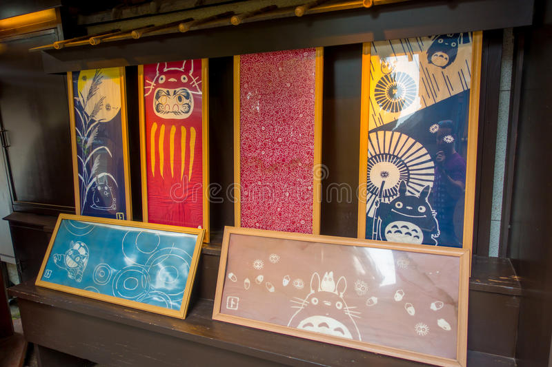KYOTO, JAPAN - JULY 05, 2017: Beautiful paintings inside of a store located in the center of Gion street of Kyoto, Japan.  royalty free stock photos