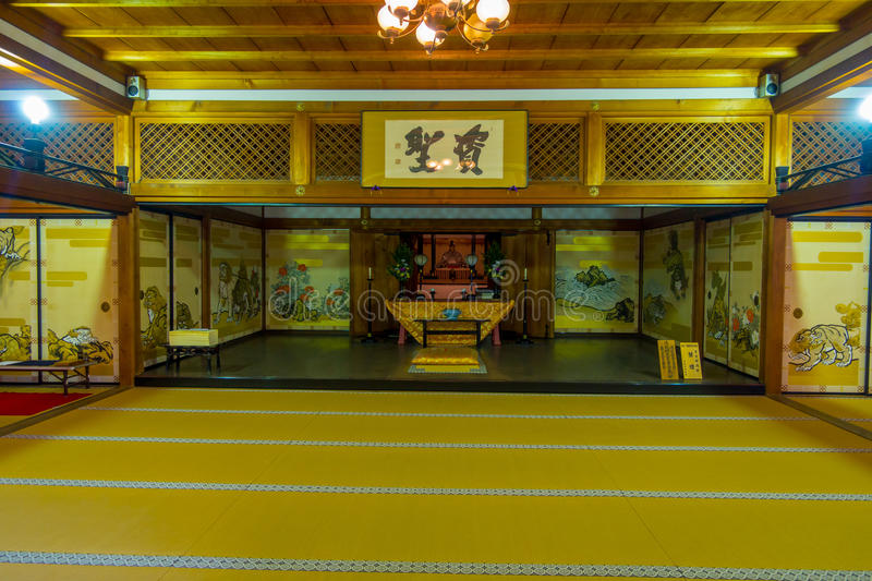 KYOTO, JAPAN - JULY 05, 2017: A room covered with tatami mat at Tenryu-ji on in Kyoto. Japan royalty free stock images