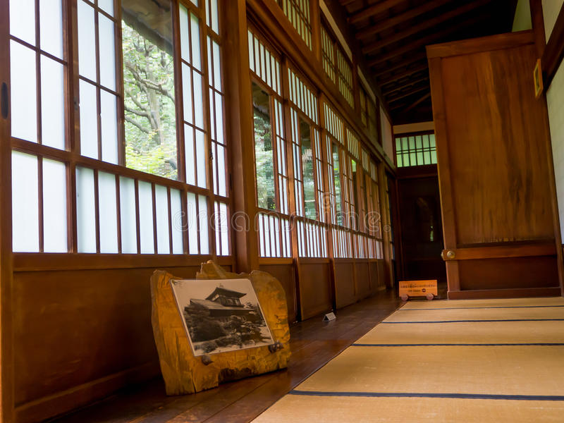 KYOTO, JAPAN - JULY 05, 2017: A room covered with tatami mat at Tenryu-ji on in Kyoto. Japan royalty free stock photos