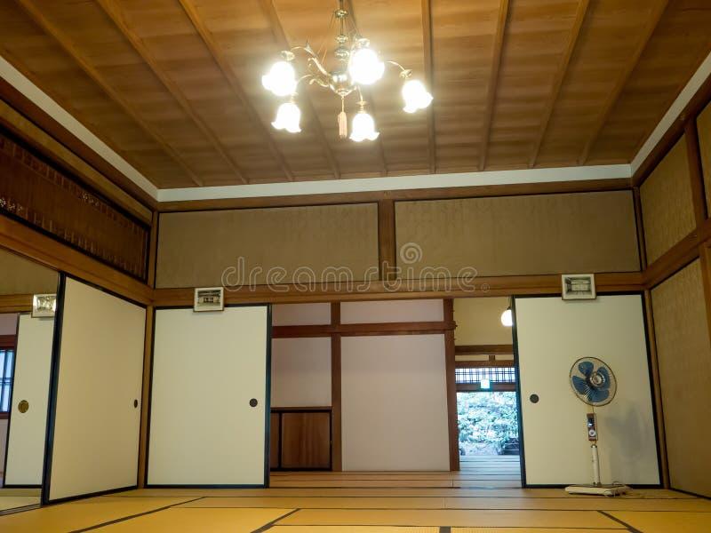 KYOTO, JAPAN - JULY 05, 2017: A room covered with tatami mat at Tenryu-ji on in Kyoto. Japan royalty free stock photo