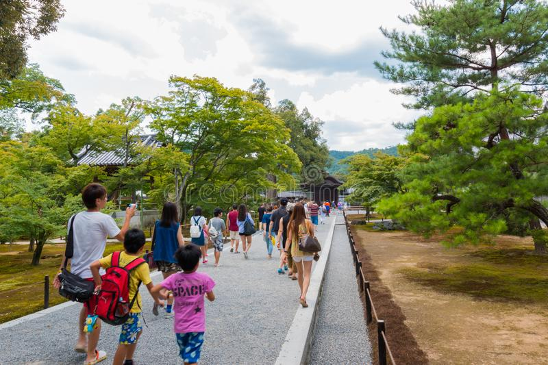 The Tourists visit Kinkaku-ji temple  It is a Zen Buddhist temple in Kyoto, Japan stock image
