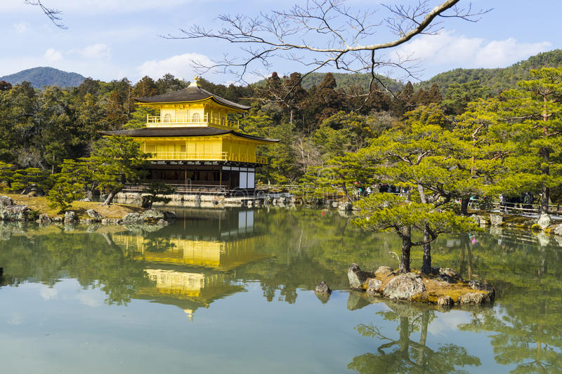 KYOTO, JAPAN Kinkaku-ji Temple of the Golden Pavilion officially named Rokuon-ji. Deer Garden Temple is a Zen. Photo was taken 0n:2017.03.09 royalty free stock image