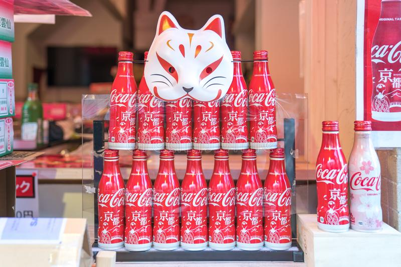 Kyoto, Japan - 2 Mar 2018: Limited Coca-Cola soda drink Kyoto campaign and sakura screen on bottle, They displayed at the local royalty free stock photo