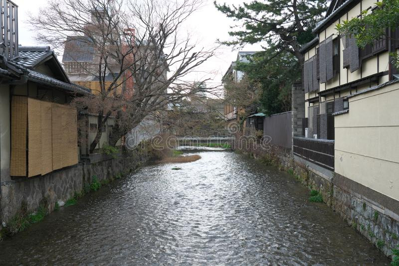 Gion Shirakawa, a traditional entertainment district, in Kyoto early in the morning. royalty free stock images