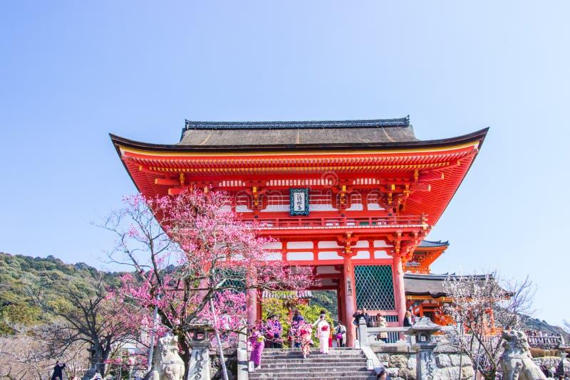 KYOTO JAPAN - MARS 12, 2018: Turist på Kiyomizu-dera tempel D royaltyfria bilder