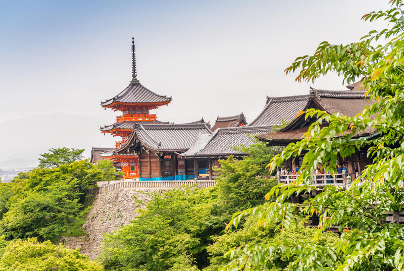 KYOTO, JAPAN - MAY 28, 2016: Beautiful Architecture in Kiyomizu-dera Temple Kyoto, Japan. Kyoto is a major city attraction in royalty free stock photos