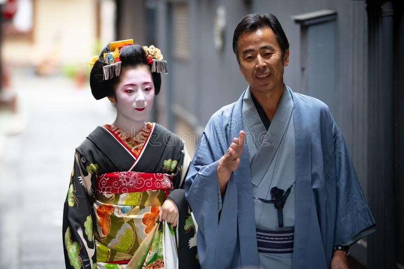 Young Maiko Geisha in Kyoto Japan stock photos