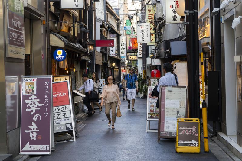 Kyoto, Japan - May 19, 2017: Tourists in Pontocho Dori Street, t stock images