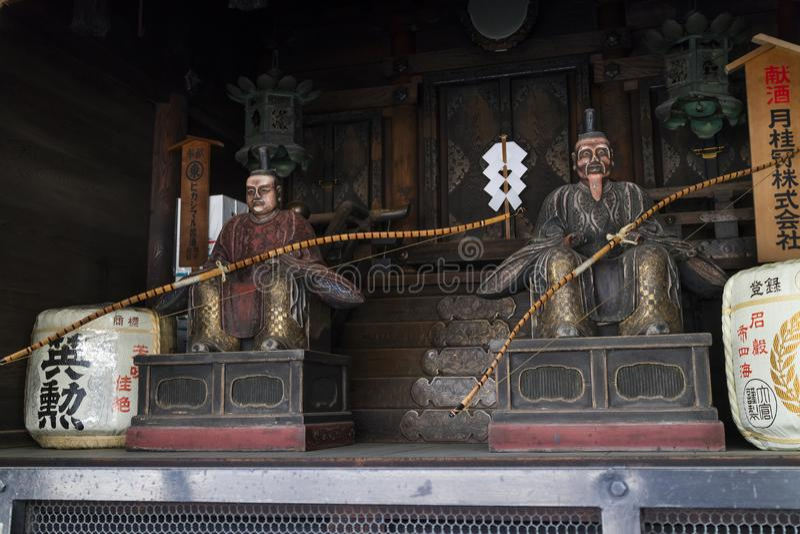 Kyoto, Japan - Mei 18, 2017: Traditionele Portiers bij een shr stock foto's