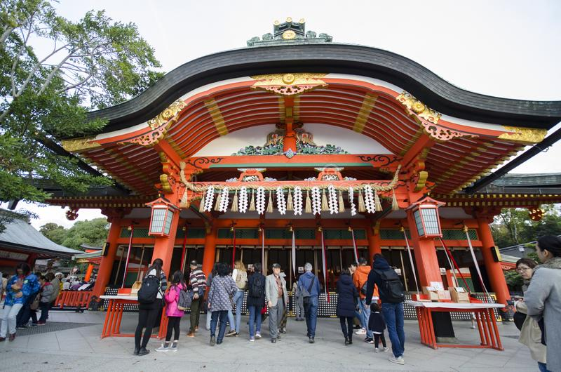 Tourist visit Fushimi Inari Shrine in Kyoto Japan stock image