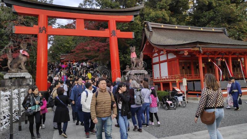 Tourist visit Fushimi Inari Shrine in Kyoto Japan stock photo