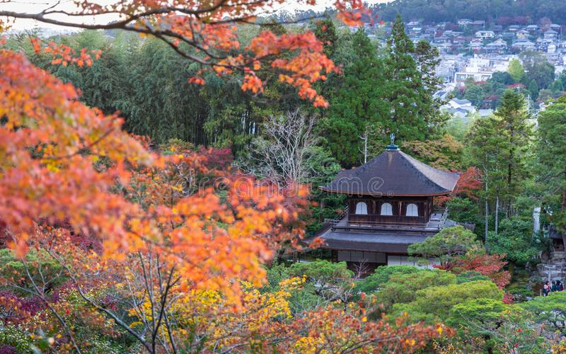 Colorful park of Kyoto in autumn. Kyoto, Japan - November 19, 2018: Ancient house in colorful park, tree change color during autumn and winter stock photos