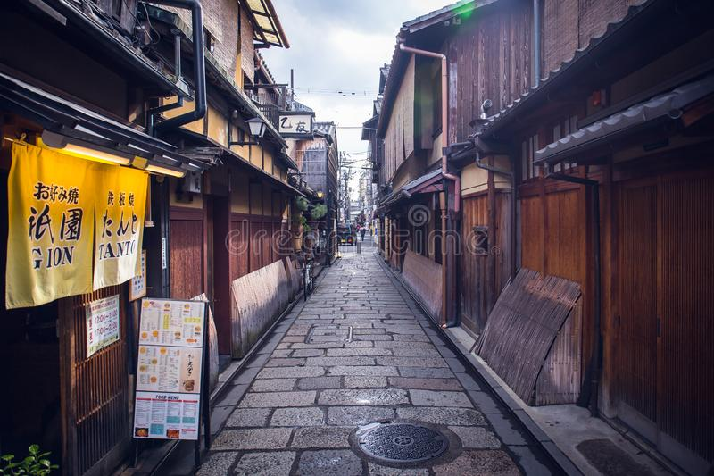 Gion street. Kyoto, Japan - November 20, 2018: At Gion, these preserved machiya houses many of which now function as restaurants, serving Kyoto style kaiseki royalty free stock images