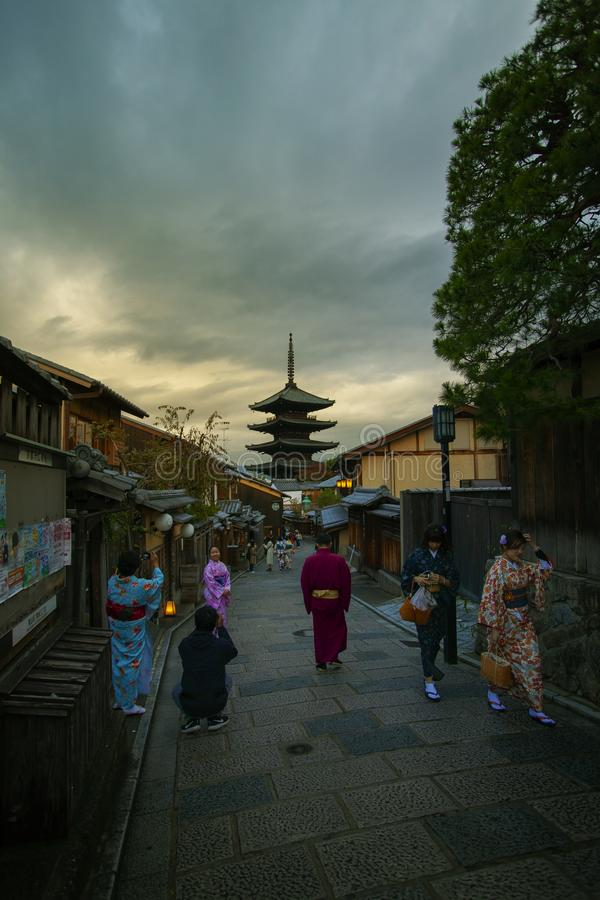 Kyoto japan - november 10,2018 : group of people wearing kimono. Clothes japanese tradition suit walking in yasaka shrine street one of most popular traveling stock photos