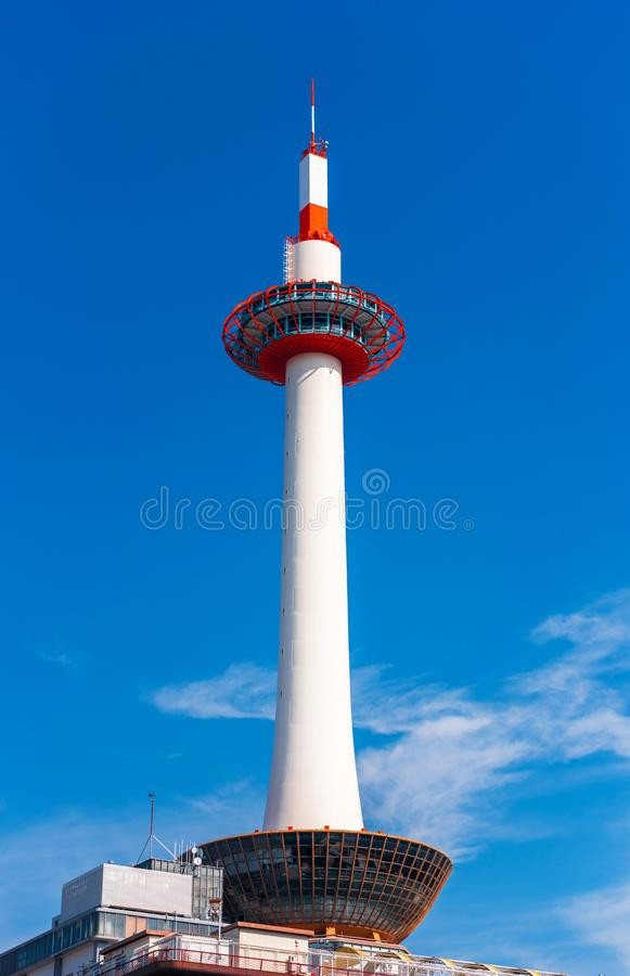 KYOTO, JAPAN - NOVEMBER 7, 2017: Kyoto Tower on blue sky background. Copy space for text. Vertical. royalty free stock photography