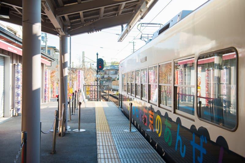 Kyoto Japan - November 17, 2017: Randen Arashiyama station i A arkivfoto