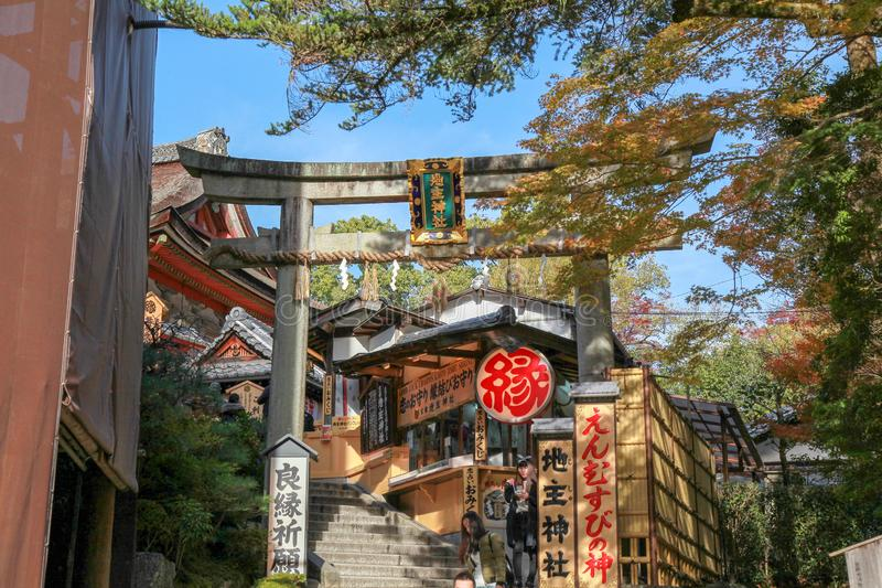 Kyoto; Japan - November 25 2017 : View of inside the Kiyomizu Dera temple is the most famous in Kyoto; Japan stock photography