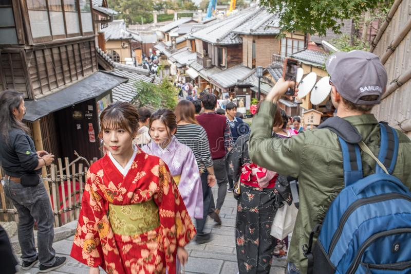 Gion Shijo Kyoto, the Old Town part of Kyoto. Kyoto, Japan: October 19, 2018: People walking in Gion Shijo Kyoto, the Old Town part of Kyoto. Kyoto has a stock photography