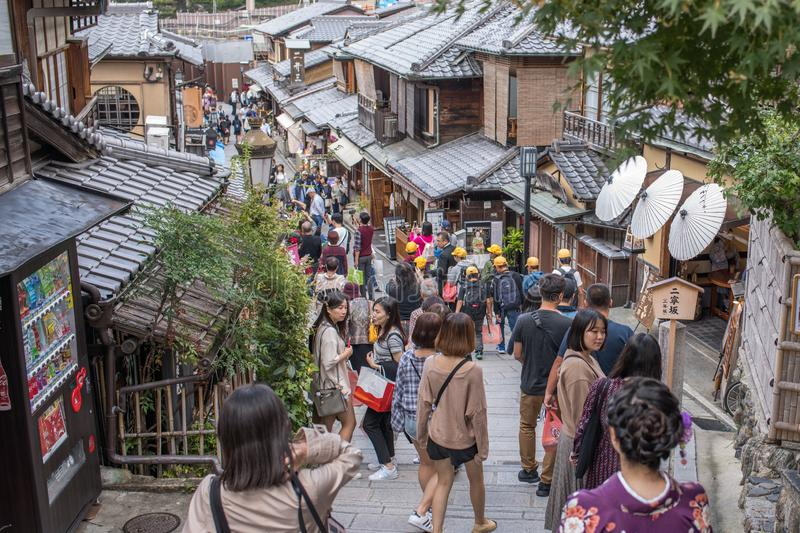 Gion Shijo Kyoto, the Old Town part of Kyoto. Kyoto, Japan: October 19, 2018: People walking in Gion Shijo Kyoto, the Old Town part of Kyoto. Kyoto has a royalty free stock image