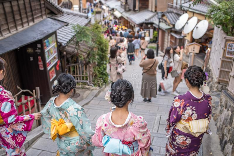 Gion Shijo Kyoto, the Old Town part of Kyoto. Kyoto, Japan: October 19, 2018: People walking in Gion Shijo Kyoto, the Old Town part of Kyoto. Kyoto has a royalty free stock photo