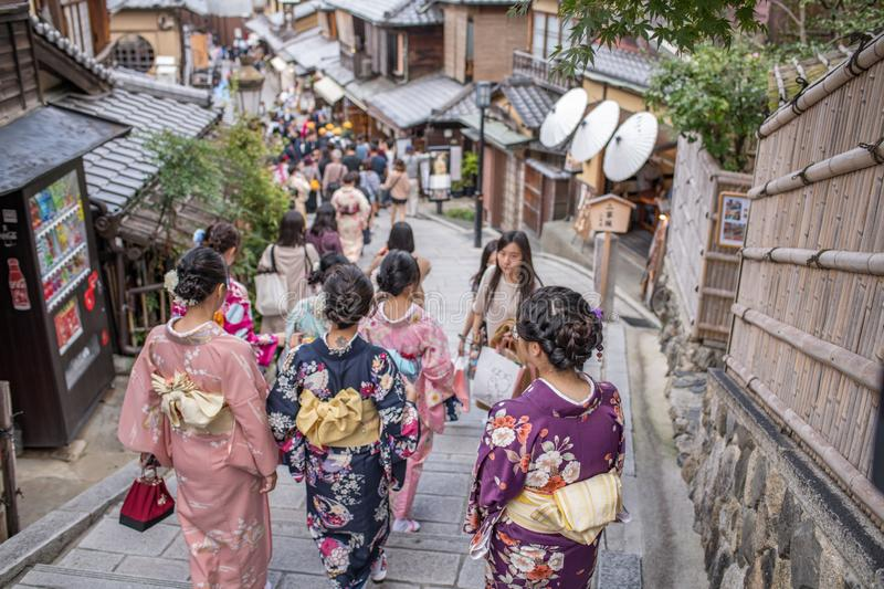 Gion Shijo Kyoto, the Old Town part of Kyoto. Kyoto, Japan: October 19, 2018: People walking in Gion Shijo Kyoto, the Old Town part of Kyoto. Kyoto has a royalty free stock photography