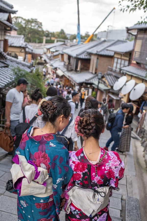 Gion Shijo Kyoto, the Old Town part of Kyoto. Kyoto, Japan: October 19, 2018: People walking in Gion Shijo Kyoto, the Old Town part of Kyoto. Kyoto has a royalty free stock photos