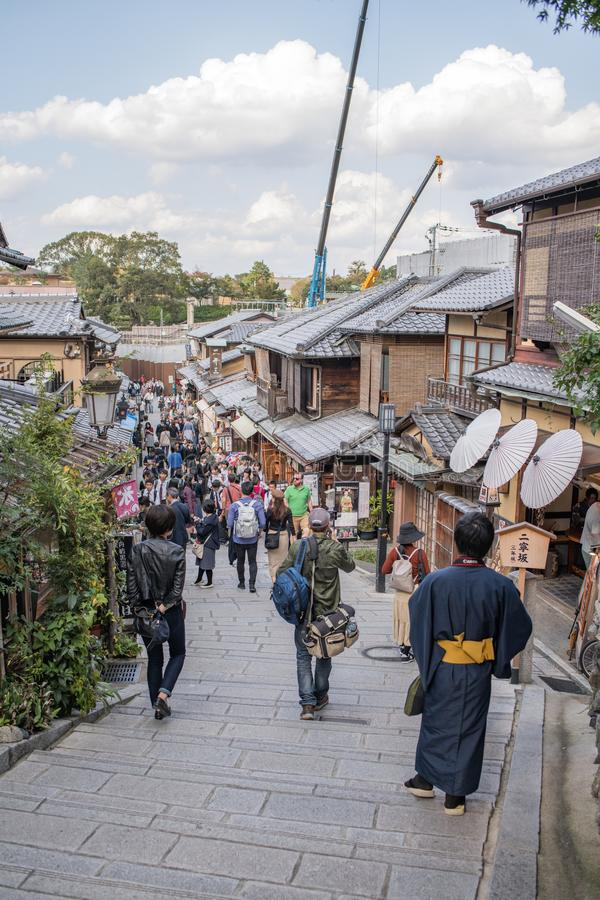 Gion Shijo Kyoto, the Old Town part of Kyoto. Kyoto, Japan: October 19, 2018: People walking in Gion Shijo Kyoto, the Old Town part of Kyoto. Kyoto has a royalty free stock images
