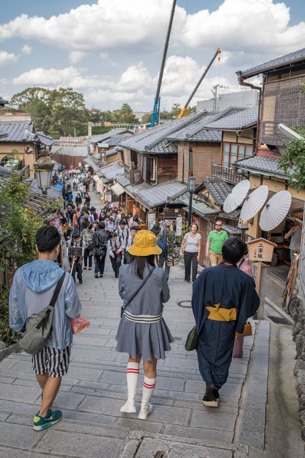 Gion Shijo Kyoto, the Old Town part of Kyoto. Kyoto, Japan: October 19, 2018: People walking in Gion Shijo Kyoto, the Old Town part of Kyoto. Kyoto has a stock images