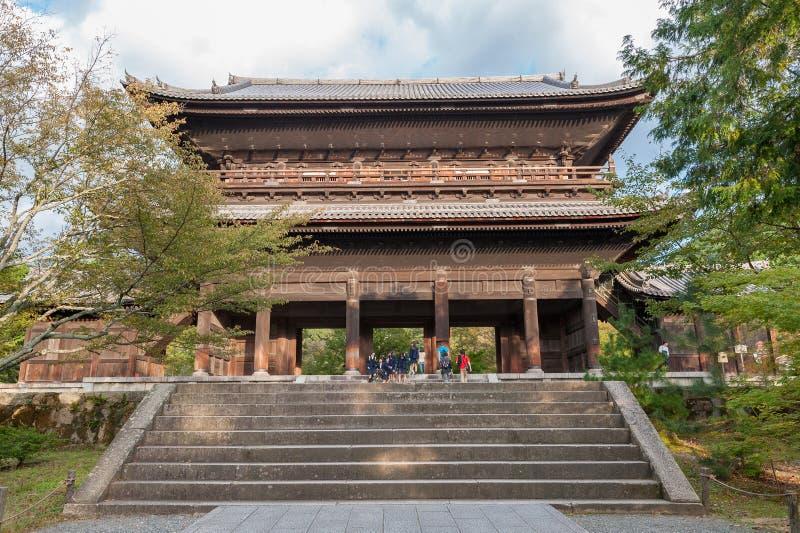 KYOTO JAPAN - OKTOBER 08, 2015: Nanzen-ji Zuiryusan Nanzen-ji, förr Zenrin-ji buddistisk japan kyoto tempelzen kejsare royaltyfria foton