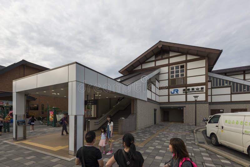 Kyoto Japan - Oktober 4, 2016: Saga-Arashiyamastation, JR, Kyoto, Japan arkivfoton