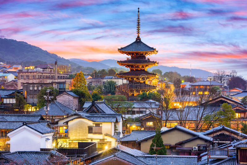 Kyoto, Japan Old Town Cityscape stock photography