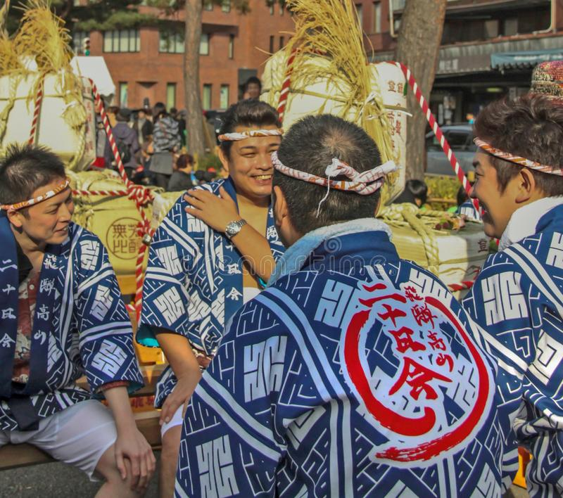 Kyoto, Japan - 2010: Participants at Sake festival stock photography
