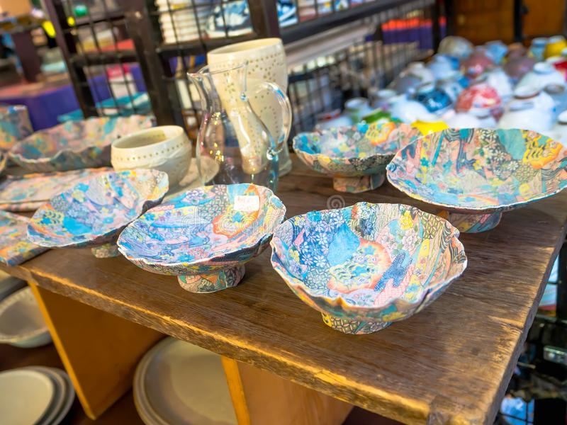 Kyoto, Japan - September 28, 2016: Ceramic Kitchenware in a souvenir shop near Kiyomizu Dera Temple.  stock images