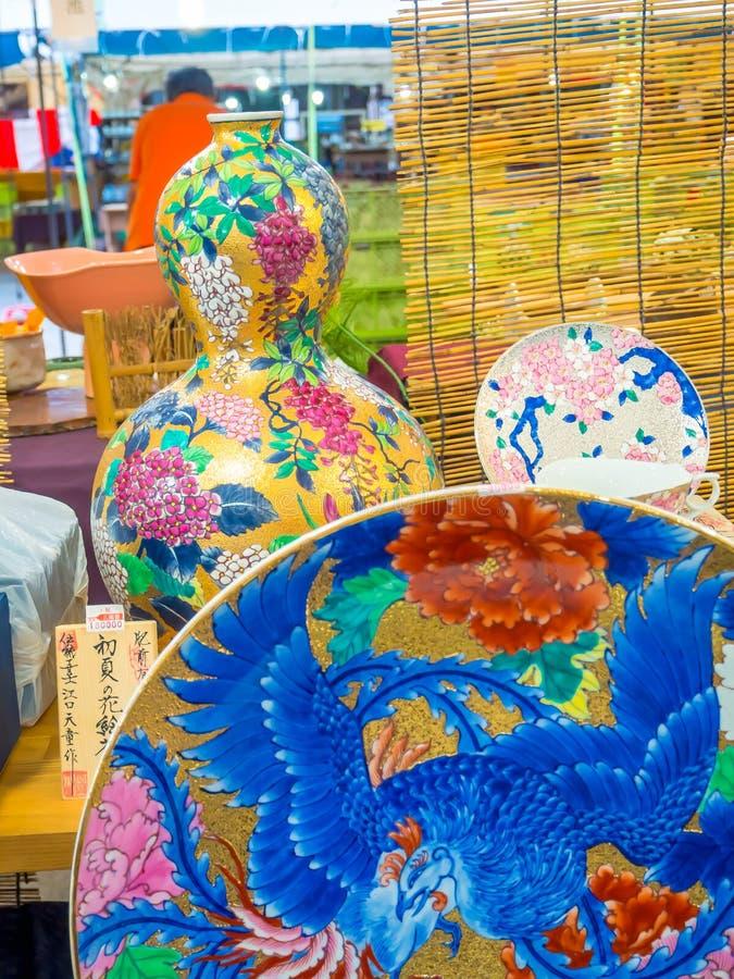 Kyoto, Japan - September 28, 2016: Close up of a ceramic Kitchenware in a souvenir shop near Kiyomizu Dera Temple.  royalty free stock photography