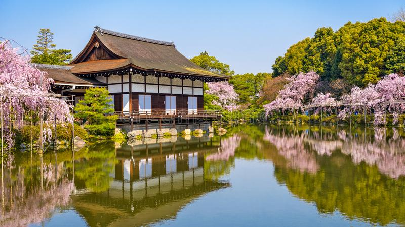 Kyoto, Japan spring at Heian Shrine`s pond garden. Kyoto, Japan at Heian Shrine`s pond garden in the spring time stock photography
